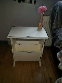 Shabby chic solid wood side table with magazine rack