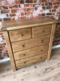 Oak 3+2 Chest Of Drawers