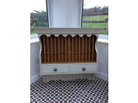 Solid pine plate rack with two drawers painted vintage cream