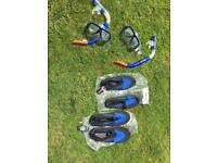 Snorkeling sets, shoes and glasses