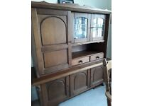OAK DINING ROOM TABLE AND CHAIR AND DRESSER