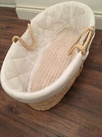 Moses basket (used, good condition) with brand new mattress