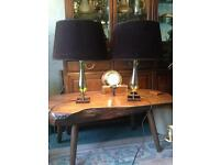 Pair blown glass & steel table lamps.