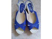 Blue slingback wedged sandals