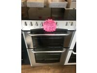 BELLING 60CM CEROMIC TOP ELECTRIC COOKER IN SHINY SILIVER