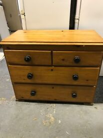 Antique Walnut Chest of Drawers. 2 over 2 style.
