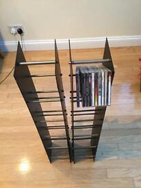 Black & chrome cd racks