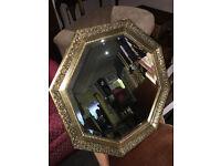 Superb Octagonal Ornate Antique Style Decorative Carved Gilt Bevelled Glass Mirror
