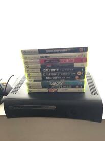 Xbox 360 elite console with 60Gb hdd 10 games