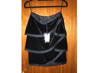 Coast Black Velvet Layered Skirt - size 8