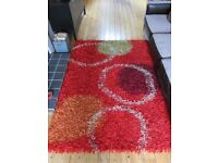 Red Indian Handmade Rug Abstract Metallic design 2000mm x 1400mm