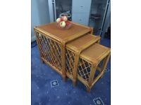 Nest Of Three Tables for conservatory or Summer house - Cane - Suffolk IP22