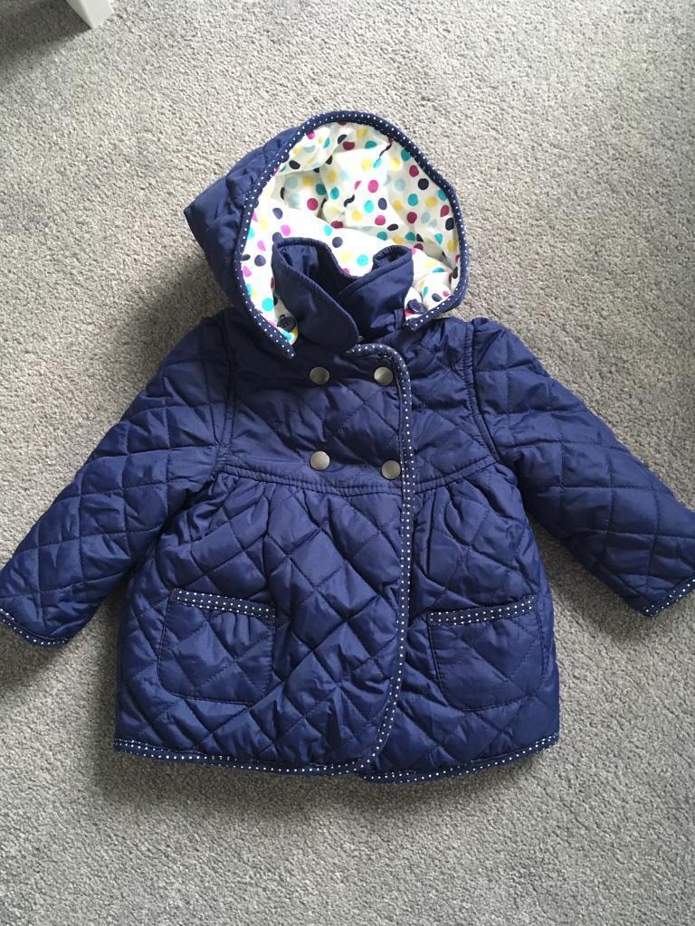 12689f5b7ad John Lewis baby girl padded blue coat - 6-9 months detachable hood ...