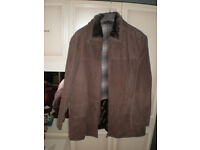 Mans Long Brown Suede Jacket with Detachable Fur Collar