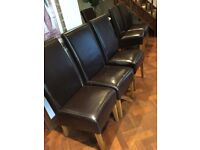 4 x dark brown leather bonded high back dining chairs with oak legs REDUCED TO SELL QUICK