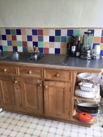 Quality used solid pine fitted kitchen incl sink & worktops by Pineland of Cleobury Mortimer. VGC