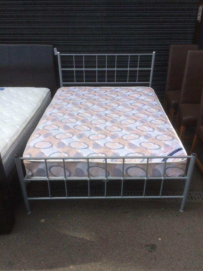 double metal bed with matt