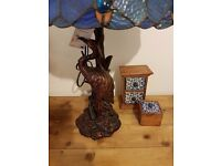 NEW Quirky Peacock colourful Table Lamp