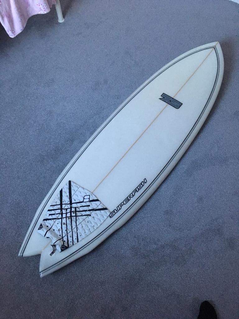 "5'9"" 7S Superfish surfboard"