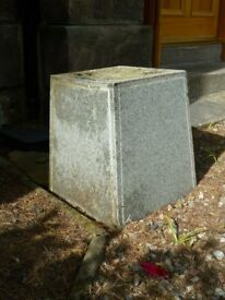 Grey Granite Square Support, Ideal as a Seat or Planter, Height:45cm x Diameter:32cm
