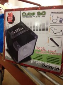 Cube 50 wireless PA system with all original accessories in original box