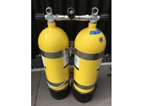 Twin set 2 X 12 litre steel cylinders with boots and belt