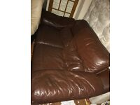 Brown leather couch, great condition.
