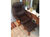 Brown Leather Swivel Chair and Footstool - Perfect Condition (as new)