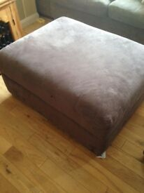 Large brown storage footstool