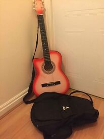 pink/red left handed acoustic guitar (beginners)
