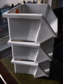 Kitchen, Garage, Shed, Cupboard Storage Boxes, Plastic Stackable, Set of 3.