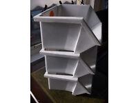 Kitchen, Garage, Shed, Cupboard Storage Boxes, Plastic Stackable, Set of 3.
