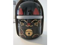 Cat Bento Box BIG KOKESHI BENTO MANEKI-NEKO BLACK NEW