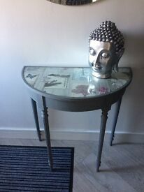 Table shabby chick hand painted half moon hall table