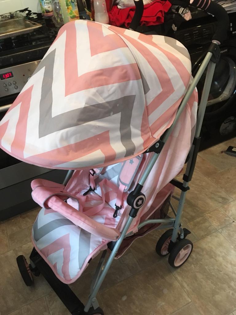 My babiie pink chevron stroller plus changing bag