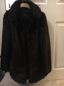Ladies faux fur brown coat