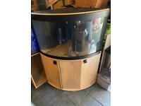 Fluval Venezia 190 Corner Aquarium Set and Oak Cabinet