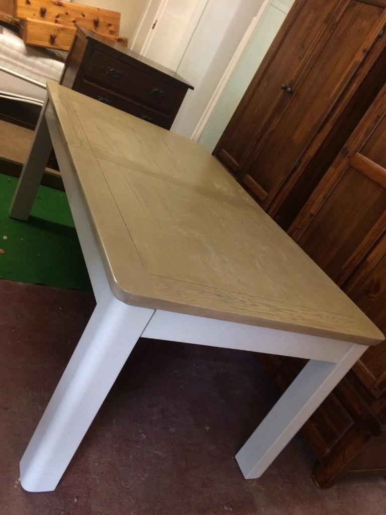 Large grey and oak table extending