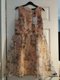 Pink floral prom dress. Size 10. Little Mistress. Brand New