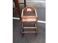 Wooden high chair for sale