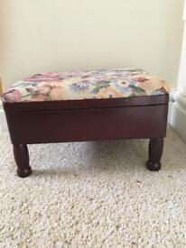Vintage style footstool with storage and tapestry style cover
