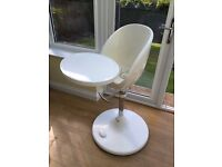 Brother Max Scoop Highchair White with Aqua Liner