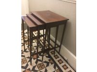ANTIQUE INLAID EDWARDIAN NEST OF 3 TABLES