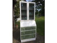 Bureau/cabinet, painted with Craig&Rose, decoupaged inside, bolted together.