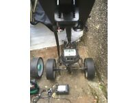 2x motorised Hill Billy Golf Trolleys with bags