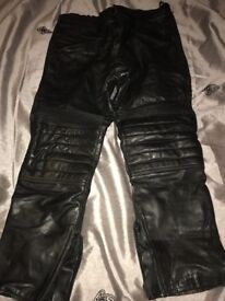 Men's Euro Style padded leather trousers