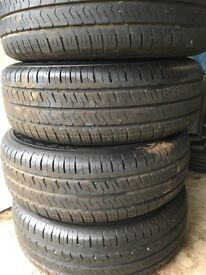 VW Transporter Steel Wheels with VW hub and centre caps and Hankook Tyres