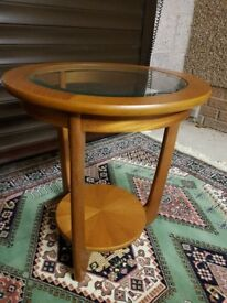 Solid Teak Lamp Table with Glass Top