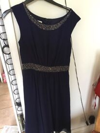 Monsoon navy & sequin party dress size 8