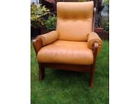 FREE Vintage Pair Brown Leather Armchair